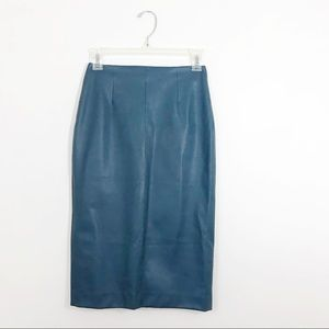 Zara | Faux Leather Pencil Skirt in Teal